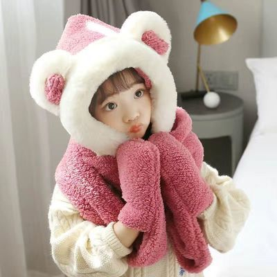 新款百搭骑车帽子手套围巾三件套一体女冬季可爱儿童防风保暖围脖