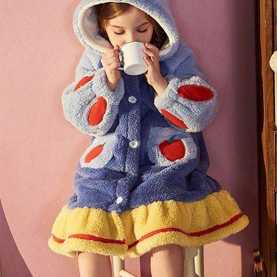 93033/儿童睡衣秋冬季女童珊瑚绒男童卡通宝宝加厚法兰绒大童睡袍唐老鸭