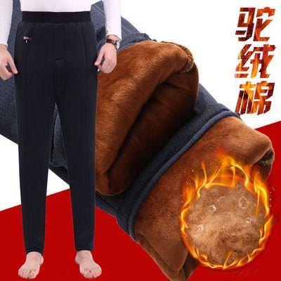 男士驼绒棉裤三层加绒加厚高腰保暖裤中老年松紧腰超柔冬季内穿潮