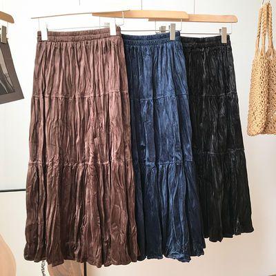 91234/夏季女装半身裙可爱甜美简约褶皱设计百搭裙子新款时尚洋气百搭