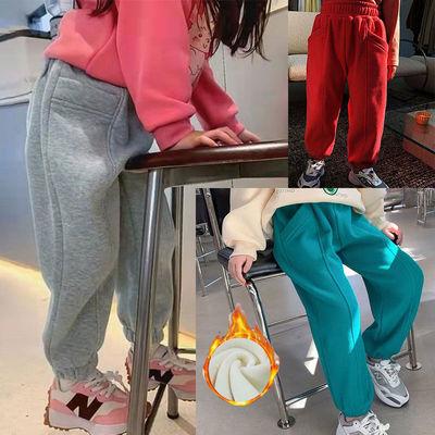女童2021加绒加厚冬季新品韩国童装潮女宝宝运动休闲加绒加厚裤子