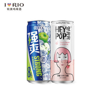 RIO强爽锐澳鸡尾酒8度强爽330ml+heypop气泡水2联罐装