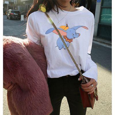 91182/2021秋季新款女装韩版潮学生宽松百搭印花长袖T恤女士打底衫