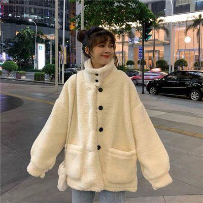 91679/仿羊羔绒毛外套女中长款冬季新款韩版宽松学生加厚冬装外套潮
