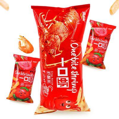 91708/喜盈盈一口虾酥条超大包零食鲜虾条168g赠52g*2包