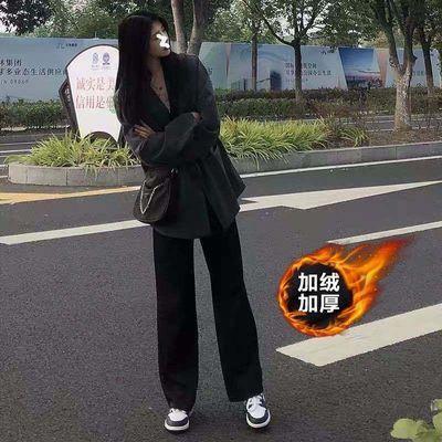 92898/黑色裤子女秋冬加绒加厚宽松显瘦百搭阔腿休闲直筒裤高腰拖地长裤