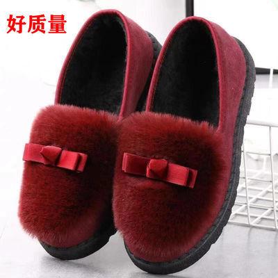 2021新款毛毛鞋平底百搭棉鞋外穿加绒豆豆鞋女秋冬季韩版保暖厚底