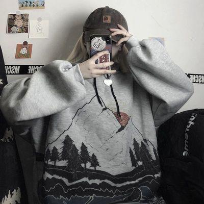 92869/外套女潮ins秋冬季新款开衫卫衣女学生韩版印花宽松加绒加厚连帽