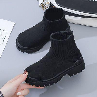93282/男童女童马丁靴新款秋冬双层飞织靴子英伦风软底短靴女款时装靴