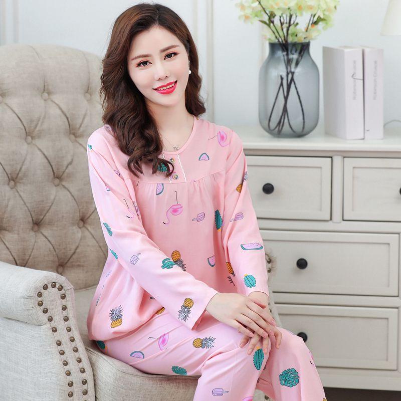 春夏棉绸女长袖中青年大码可穿200斤空调服套装睡衣人造棉家居服