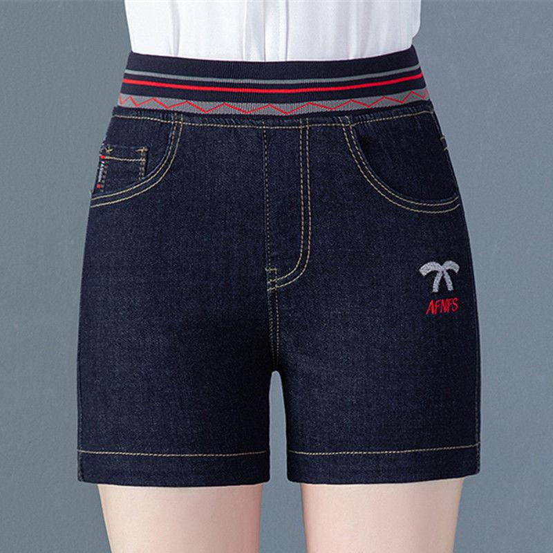 热卖新款夏季高腰牛仔短裤女松紧腰修身弹力四分裤妈妈装绣花显瘦