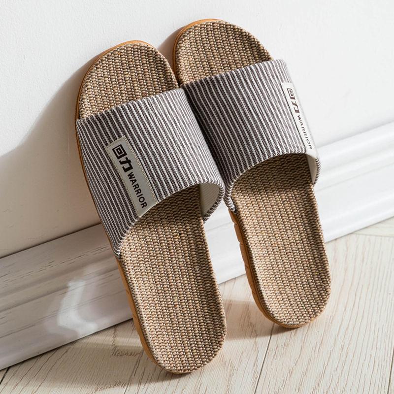 回力亚麻拖鞋开口拖男室内家居防滑软底居家棉麻四季厚底女凉拖鞋