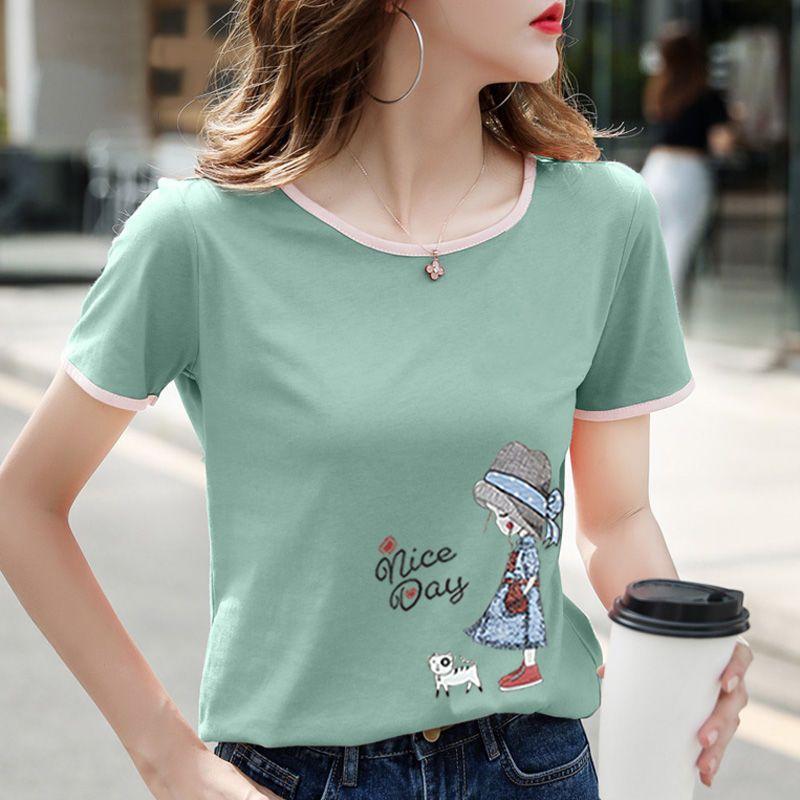 白色短袖t恤女纯棉宽松显瘦大码2020新款韩版半袖拼接上衣打底衫
