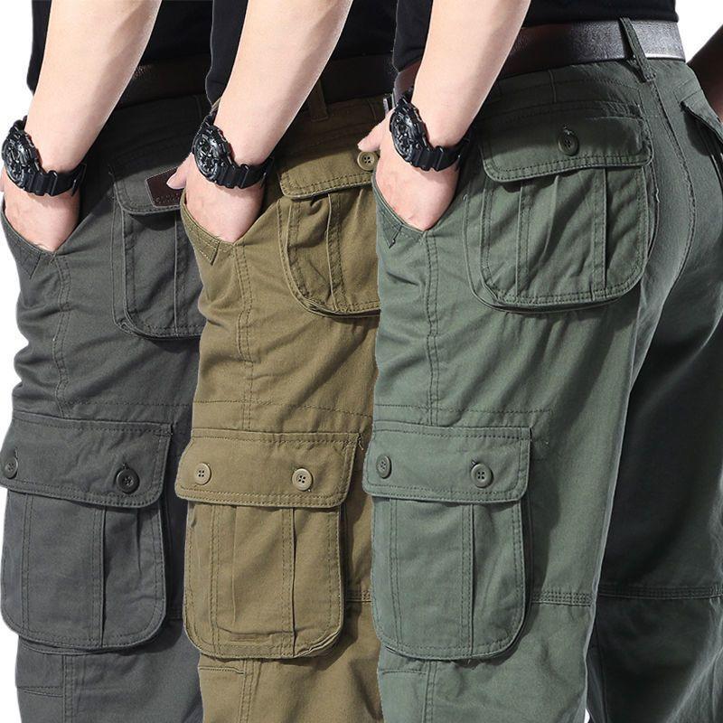 热卖新款春季新款青年直筒宽松长裤休闲裤男宽松工装裤男裤多口袋