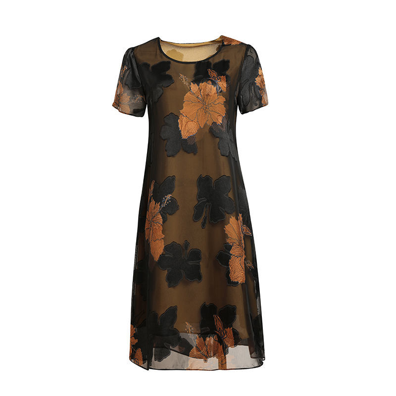 中年妈妈装连衣裙夏季短袖雪纺裙2020年新款大码显瘦中长款裙子50主图7