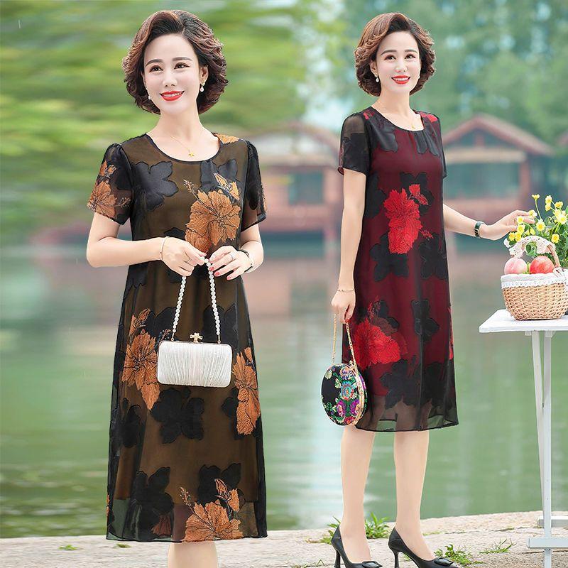 中年妈妈装连衣裙夏季短袖雪纺裙2020年新款大码显瘦中长款裙子50主图2