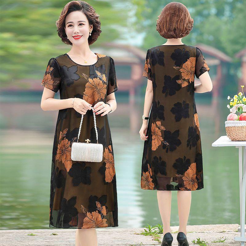 中年妈妈装连衣裙夏季短袖雪纺裙2020年新款大码显瘦中长款裙子50主图3
