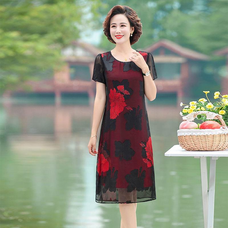 中年妈妈装连衣裙夏季短袖雪纺裙2020年新款大码显瘦中长款裙子50主图6
