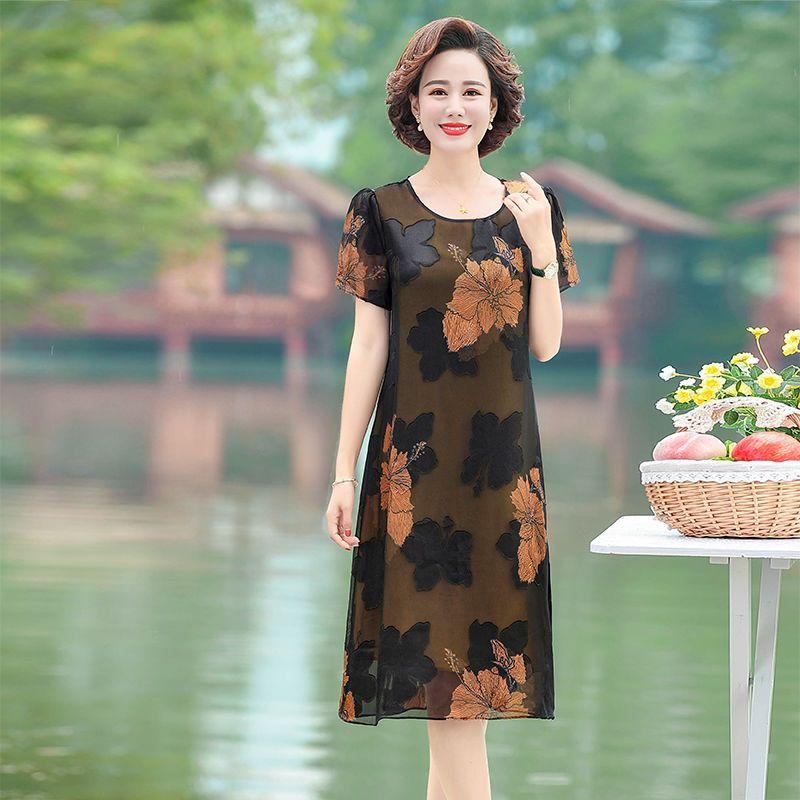 中年妈妈装连衣裙夏季短袖雪纺裙2020年新款大码显瘦中长款裙子50主图5