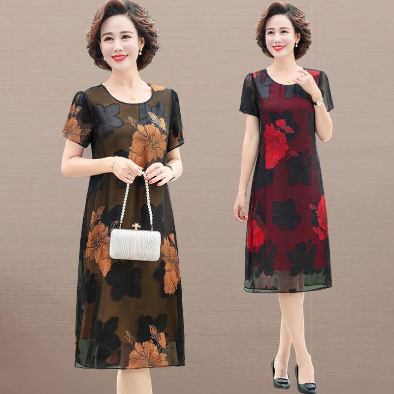 中年妈妈装连衣裙夏季短袖雪纺裙2020年新款大码显瘦中长款裙子50主图0