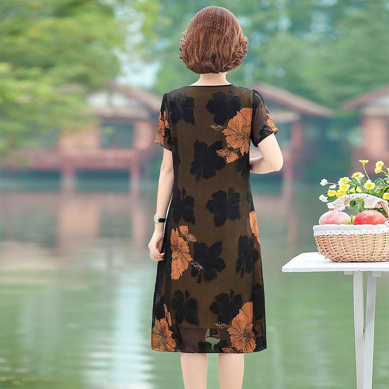 中年妈妈装连衣裙夏季短袖雪纺裙2020年新款大码显瘦中长款裙子50主图8