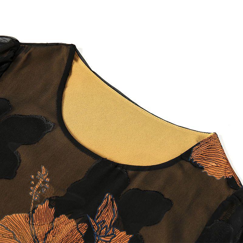 中年妈妈装连衣裙夏季短袖雪纺裙2020年新款大码显瘦中长款裙子50主图9