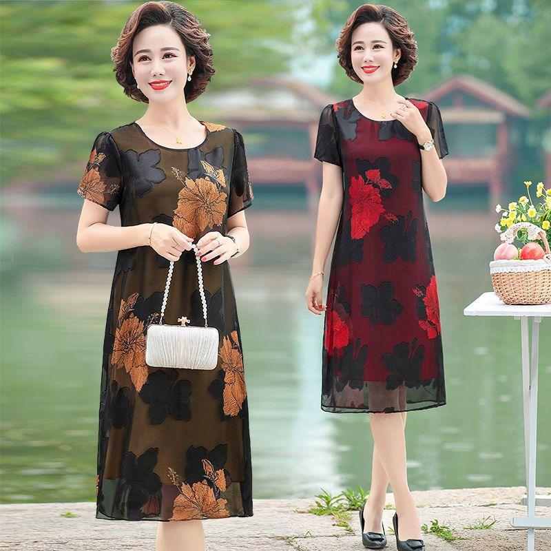 中年妈妈装连衣裙夏季短袖雪纺裙2020年新款大码显瘦中长款裙子50主图4
