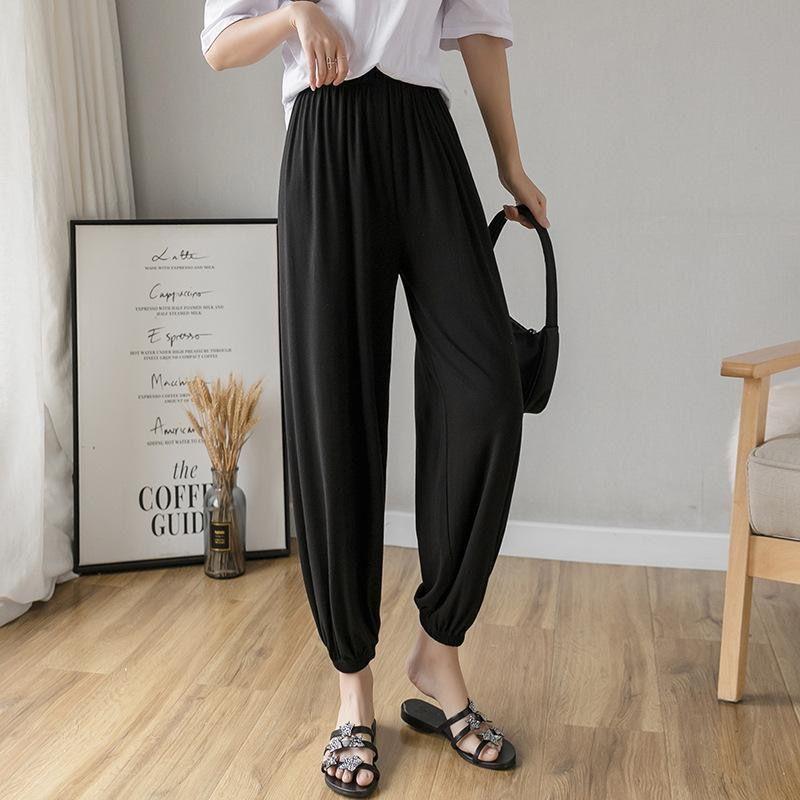 莫代尔运动裤女2020新款夏季薄款显瘦百搭灰色休闲阔腿灯笼九分裤
