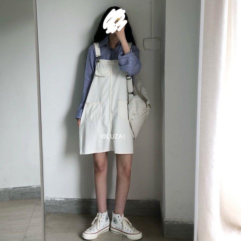 热卖新款夏季新款韩版白色牛仔背带裙女百搭显瘦泫雅风减龄A字裙
