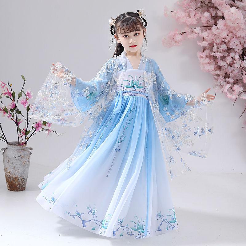 女童汉服夏季儿童汉服女襦裙中大童古装中国风超仙女孩唐装连衣裙