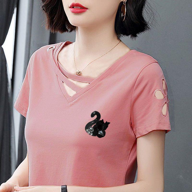 短袖女纯棉t恤夏季韩版女2020新款百搭绣花镂空修身衣服V领上衣女