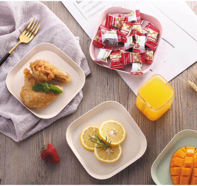 【48小时内发货】小麦秸秆吐骨碟家用菜盘塑料小吃盘子装骨碟垃圾渣盘糕点盘水果盘