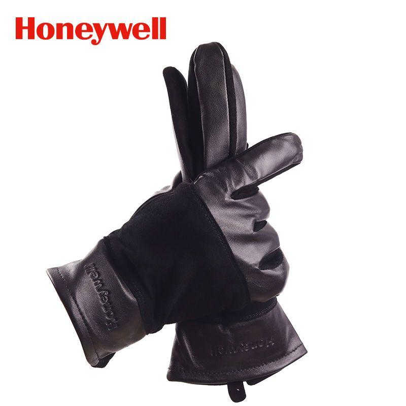 霍尼韦尔小羊皮手套秋冬季开车骑车真皮女士手套时尚触屏手套机车
