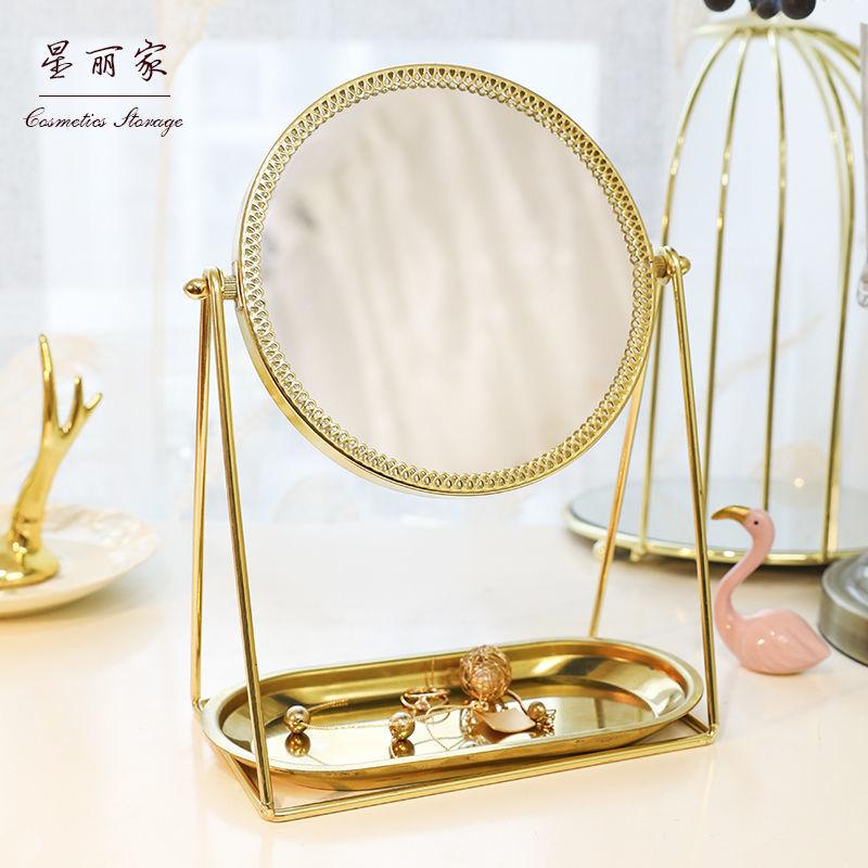网红ins化妆镜子北欧梳妆镜台式化妆镜单面金色小镜子便携金小蝶