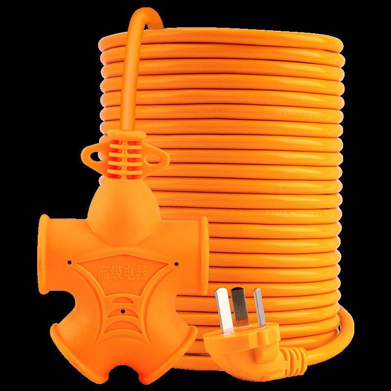 电动车充电延长线插座防爆耐摔耐压拖线板插板长线工程地拖接线板