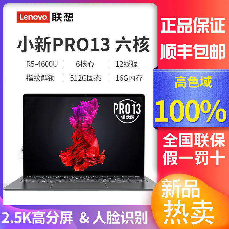 Lenovo 联想 小新 Pro13 2020 锐龙版 13.3英寸笔记本电脑 (R5-4600U/16GB/512GB SSD/2.5K/100%sRGB)¥4199