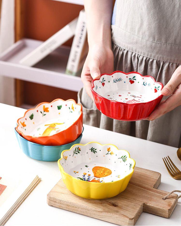 【陶瓷樱花碗】泡面碗日式餐具少女心创意饭碗家用可爱水果沙拉碗早餐