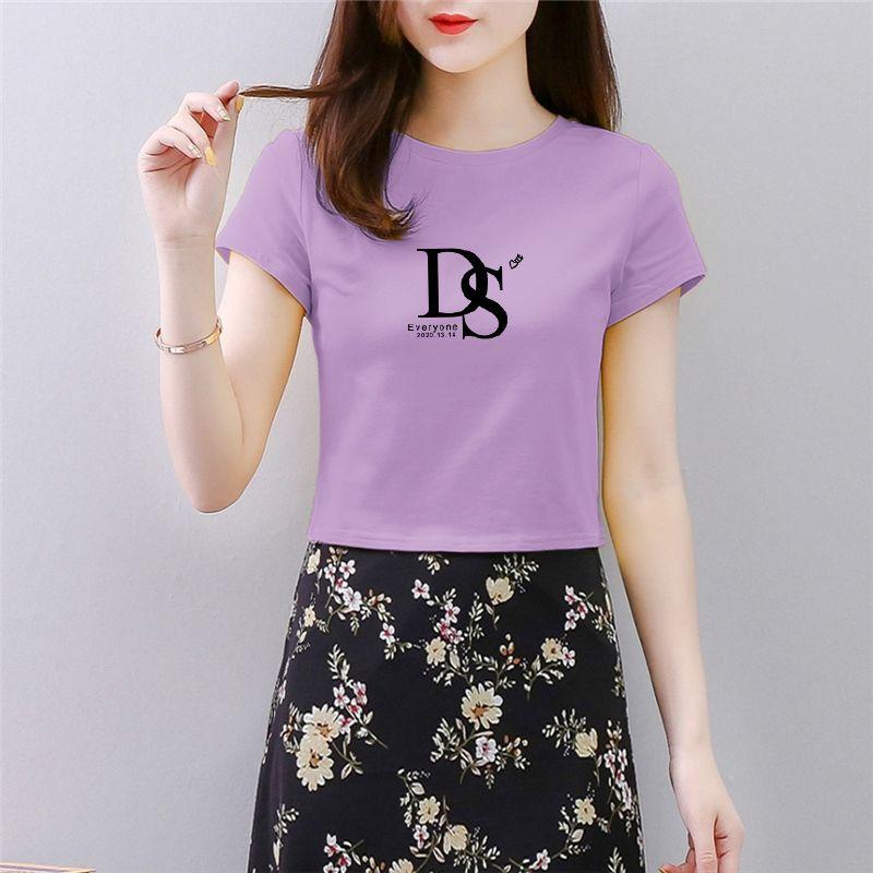 95棉2020新款韩版夏装修身显瘦短款女士短袖T恤女学生ins高腰上衣