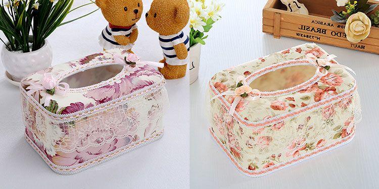 【48小时发货】买一送一蕾丝布艺抽纸盒塑料纸巾盒客厅卧室餐厅纸抽盒子简约抽纸