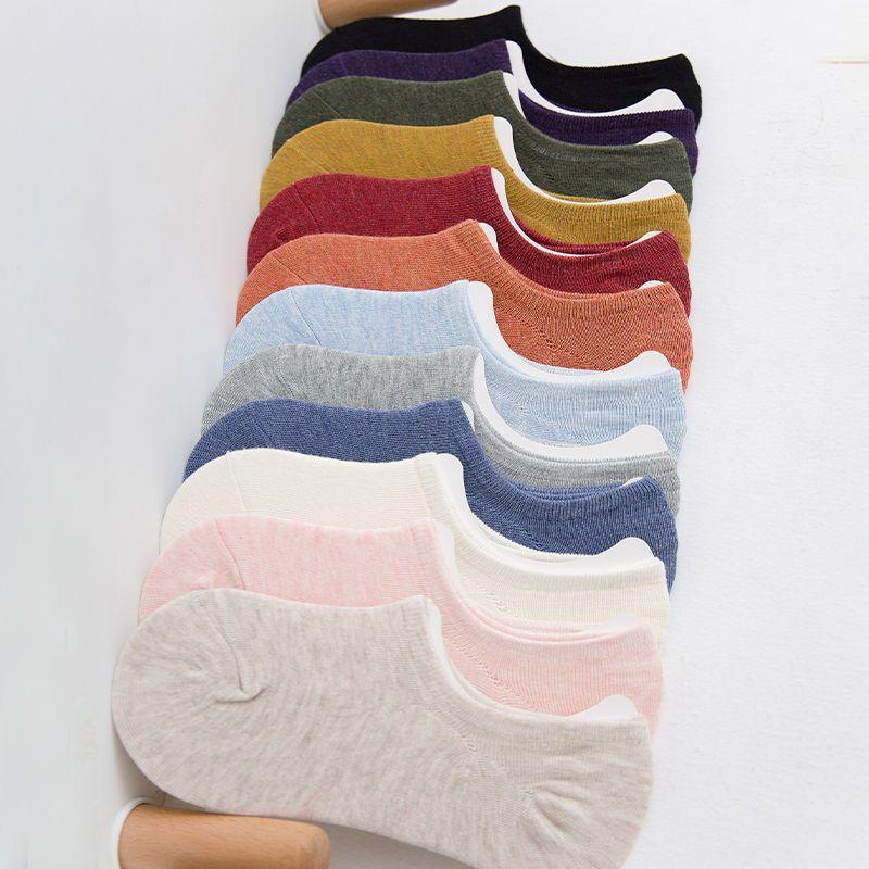 4双装袜子女船袜低帮浅口春季隐形纯棉硅胶防滑纯色短袜夏季薄款