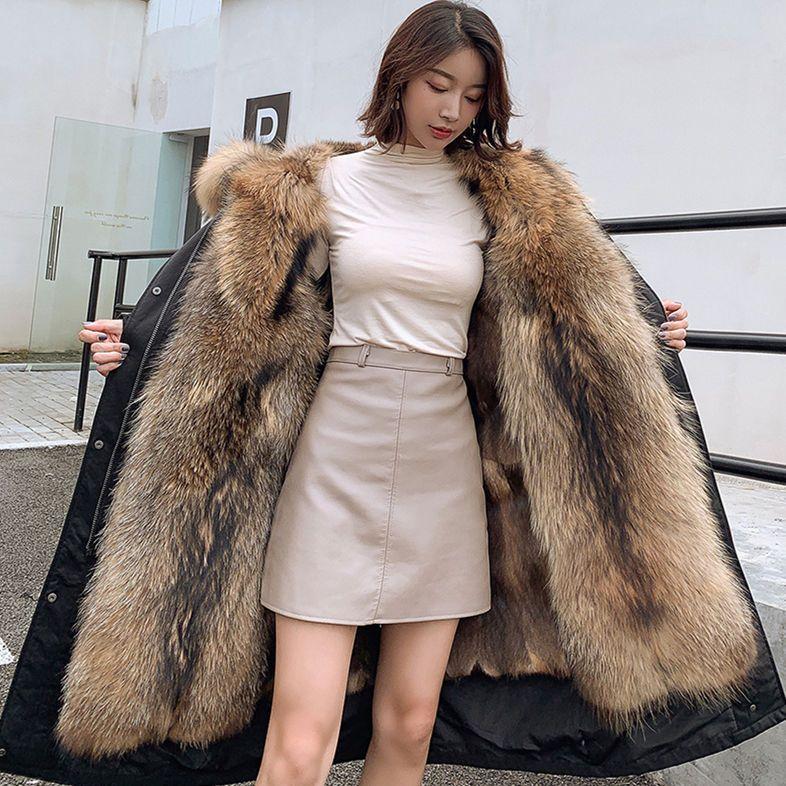特价冬季新款派克服中长款可拆卸貉子毛内胆加厚仿皮草大码外套女