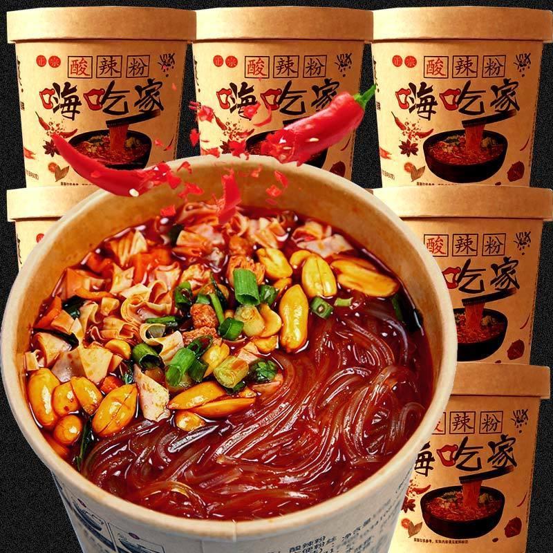 网红酸辣粉嗨吃家泡面大桶装方便面整箱批发重庆红薯粉宿舍速食品