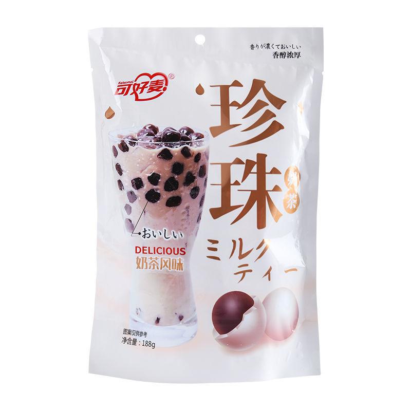 88847-可好麦珍珠奶茶夹心巧克力软糖可冲泡糖果网红休闲波霸软糖零食品-详情图