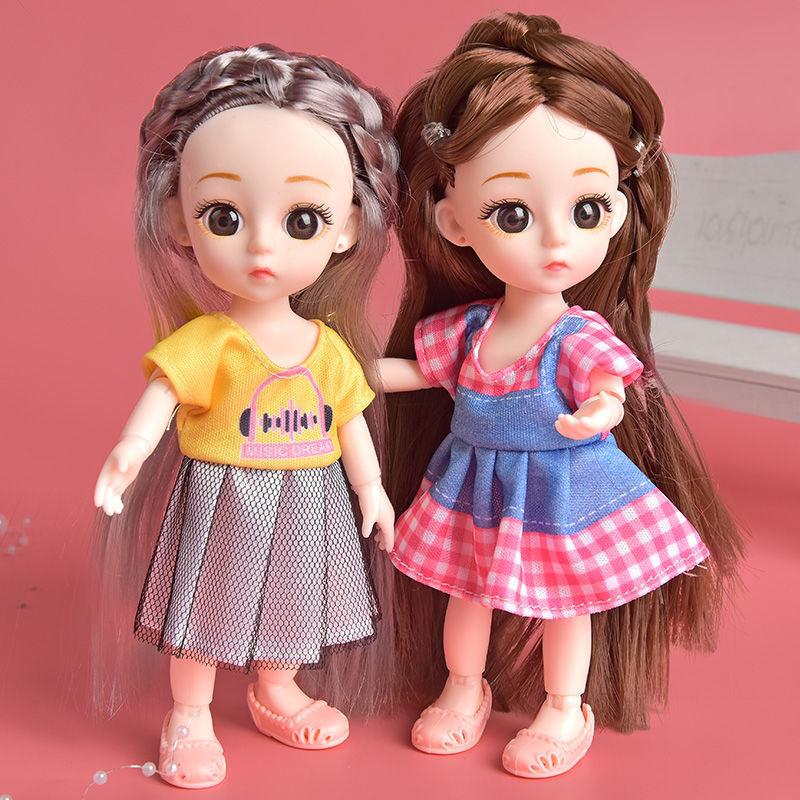 迷你芭比娃娃公主套装可换装礼盒diy仿真娃娃女孩玩具长发叶罗丽
