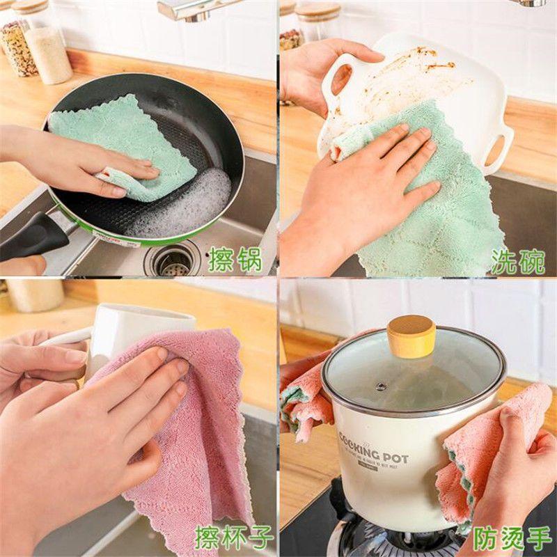 【多条装】不沾油抹布吸水不掉毛擦桌清洁去油洗碗巾厨房用品毛巾