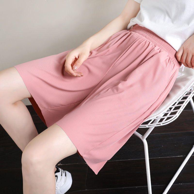 冰丝短裤女夏宽松女士大码200斤休闲黑色高腰学生女式家居五分裤