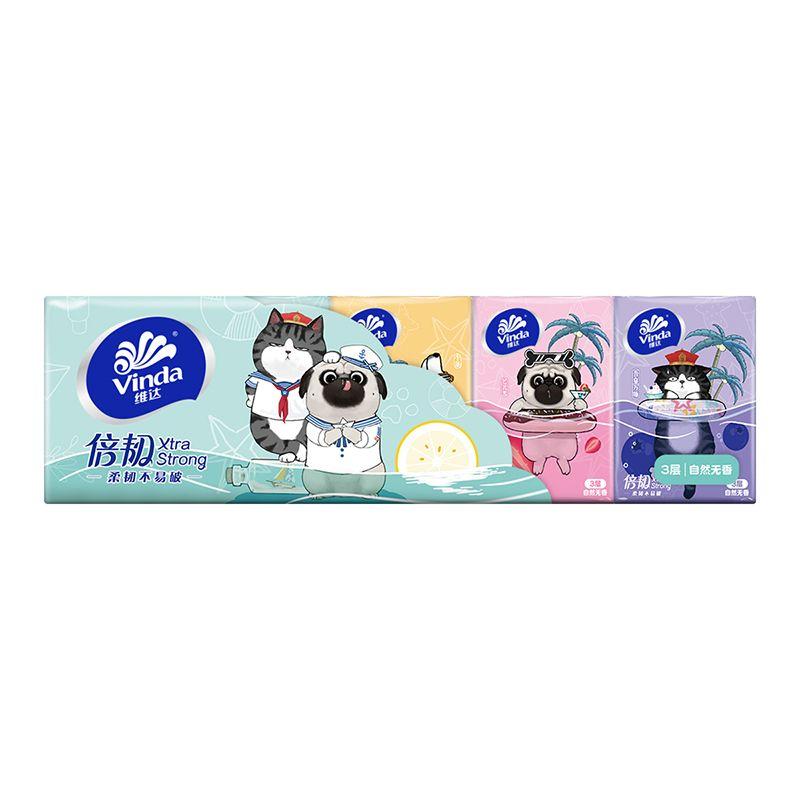 维达手帕纸3层6条共60包小包面巾纸卫生纸餐巾纸便携家用装特价