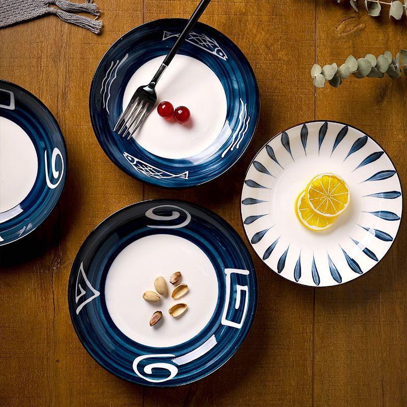 北欧日式陶瓷盘网红盘子创意菜盘家用手绘芝士盘饺子盘深盘水果盘