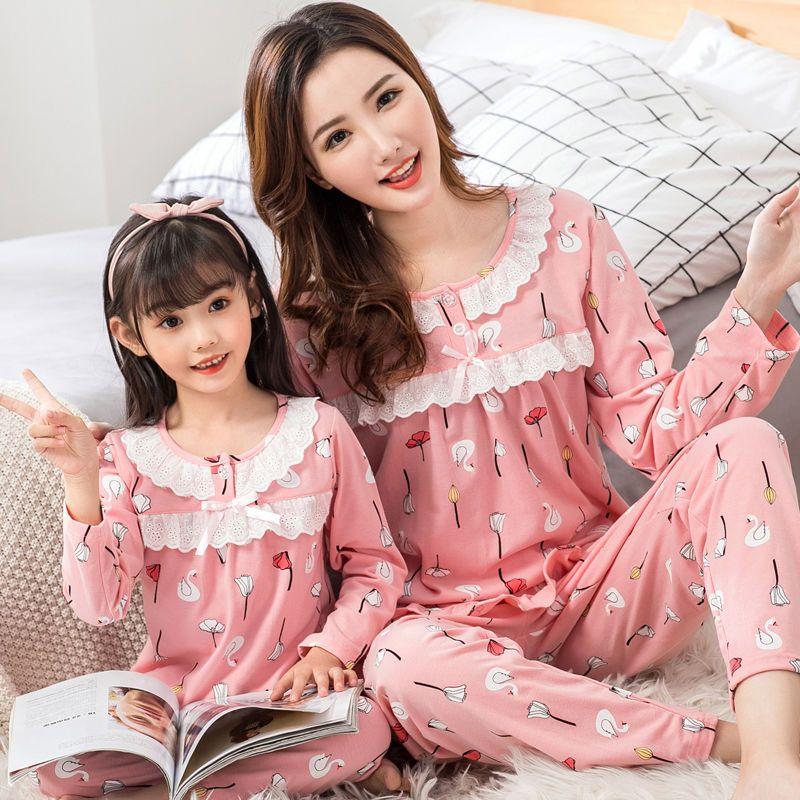 睡衣女春秋长袖长裤韩版可爱卡通新款公主风中大童亲子家居服套装