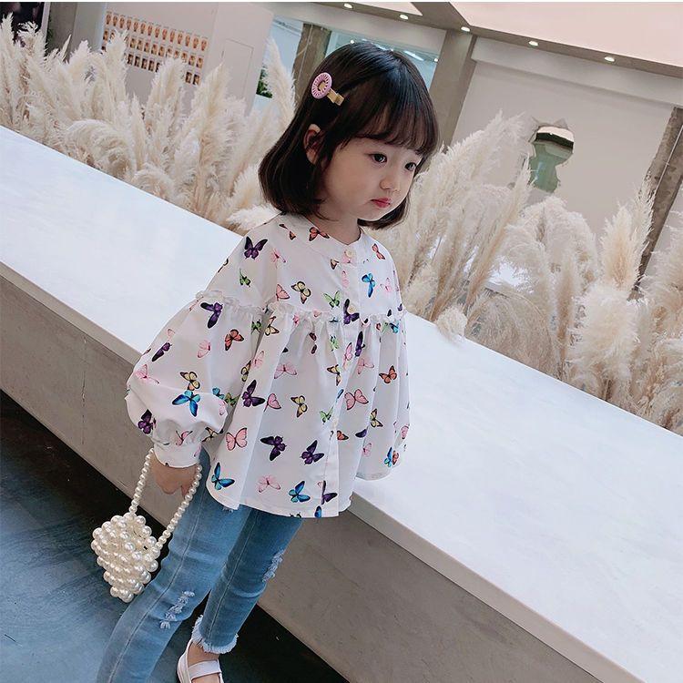 儿童宽松白衬衫女童泡泡袖娃娃衫蝴蝶长袖